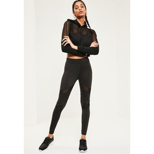 eab4bf42d4ede Missguided Pants - Missguided Active Black Mesh Panel Leggings 6 S